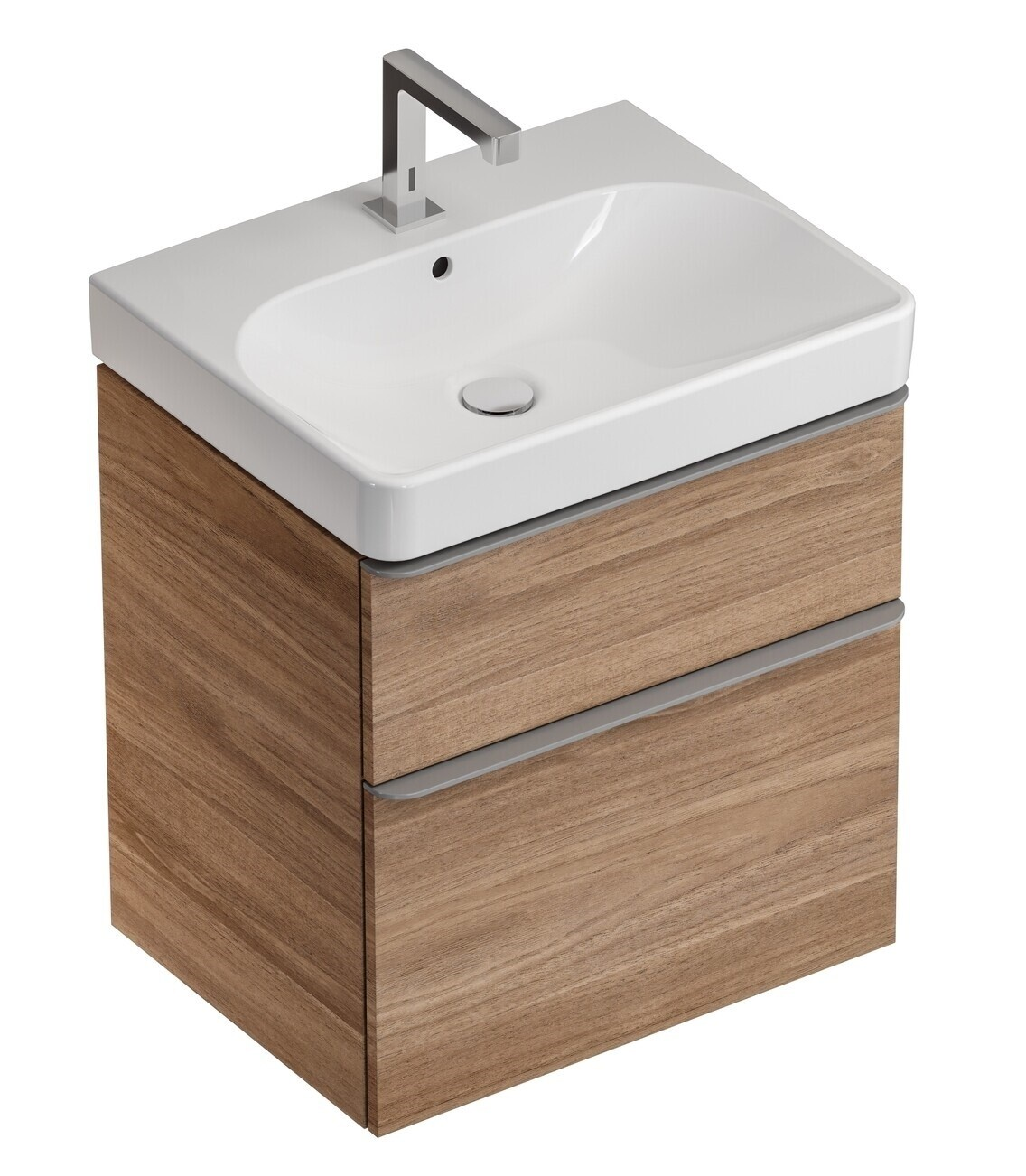 Meuble bas Geberit Smyle Square pour lavabo 90 cm avec deux tiroirs en noyer Carya