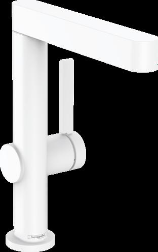 Mitigeur de lavabo Hansgrohe Finoris 230 avec bec orientable et bonde push-open en blanc mat