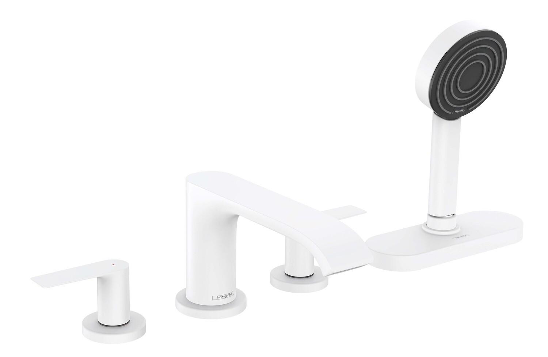 Mélangeur 4 trous pour montage sur bord de baignoire Hansgrohe Vivenis avec sBox en blanc mat