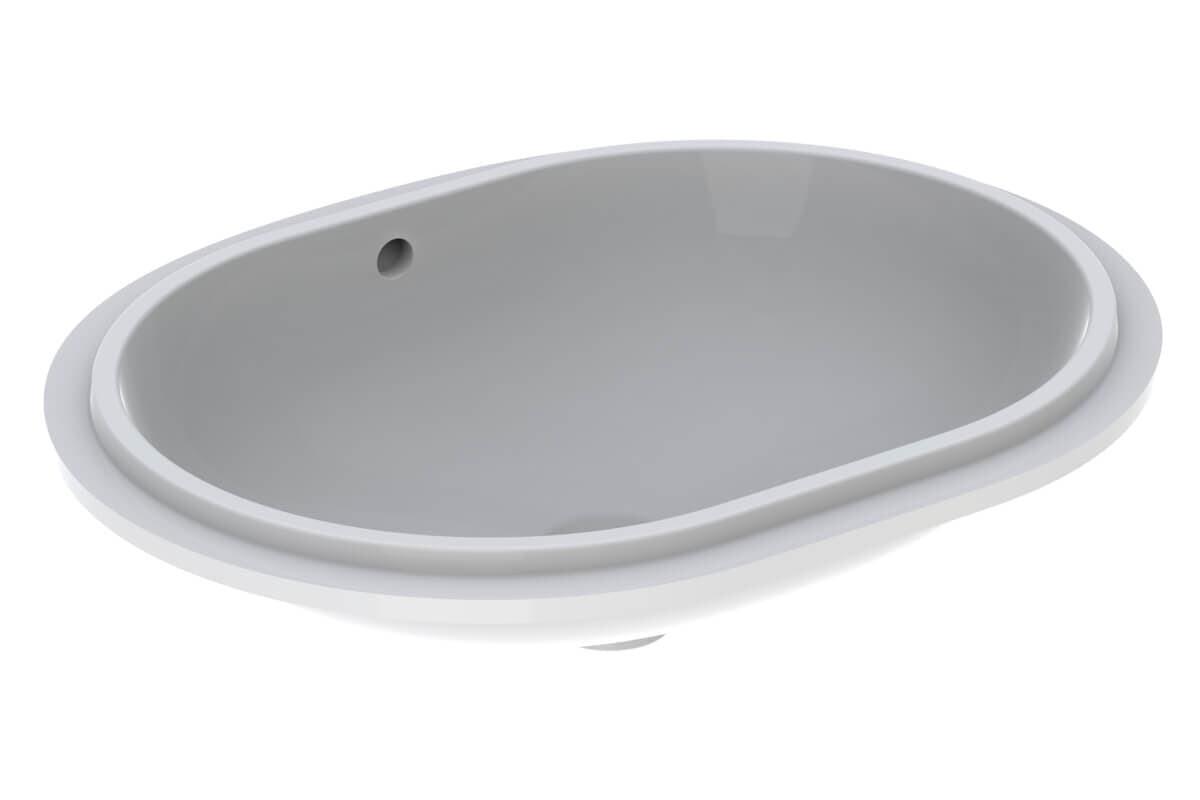 Vasque à encastrer par le dessous Geberit VariForm oblongue 62.5 x 49 cm avec trop plein