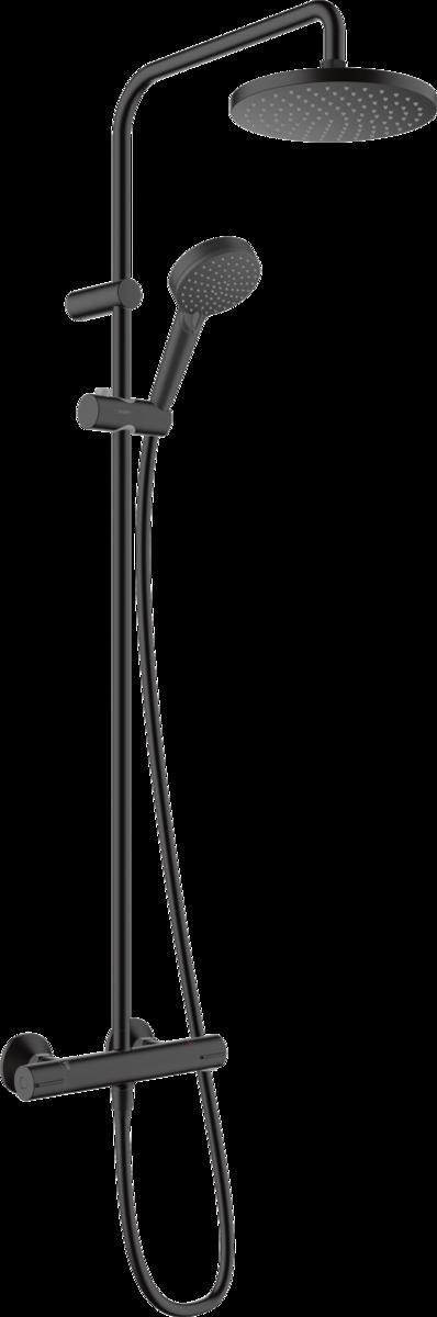 Colonne de douche Showerpipe Hansgrohe Vernis Blend 200 1 jet avec mitigeur thermostatique en noir mat