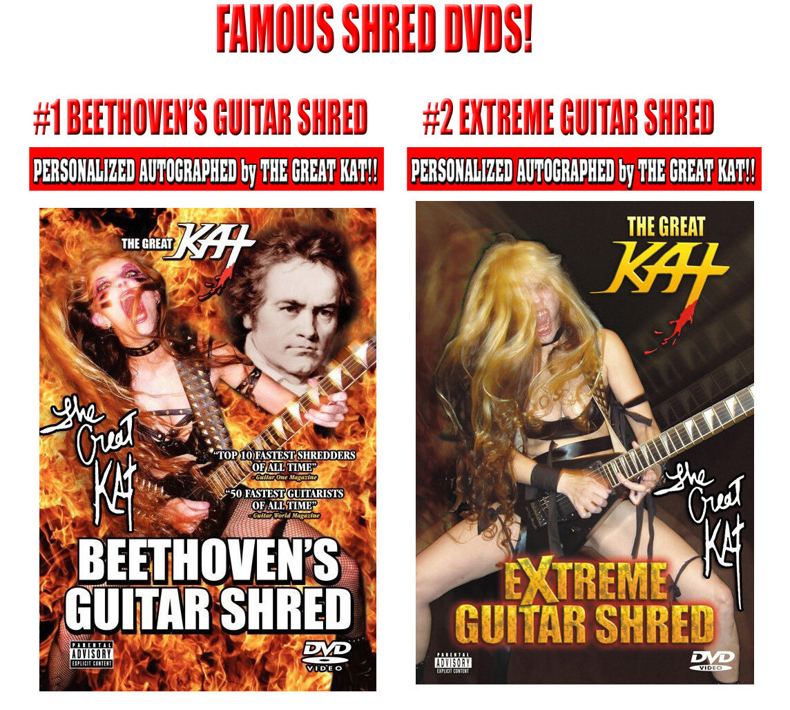 """THE GREAT KAT'S FAMOUS SHRED DVDs! PERSONALIZED AUTOGRAPHED by THE GREAT KAT (Signed to Customer's Name) """"Beethoven"""" DVD has 7 Music Videos or """"Extreme"""" DVD has 6 Music Videos! Bonus Features!"""