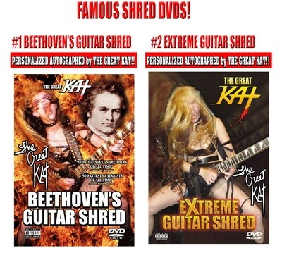 THE GREAT KAT'S FAMOUS SHRED DVDs! PERSONALIZED AUTOGRAPHED by THE GREAT KAT (Signed to Customer's Name)