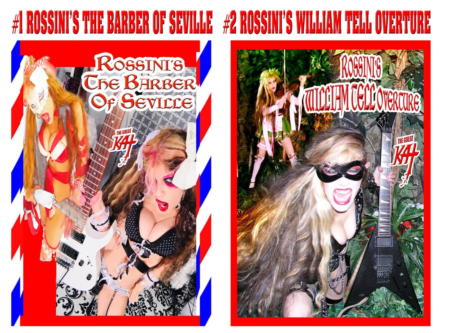 """ROSSINI MUSIC VIDEO SINGLE DVDS! """"THE BARBER OF SEVILLE"""" (2:14) & """"WILLIAM TELL OVERTURE"""" MUSIC VIDEO SINGLE DVDS (1:52)! PERSONALIZED AUTOGRAPHED by GREAT KAT! (Signed to Customer's Name) $19.99 EACH"""