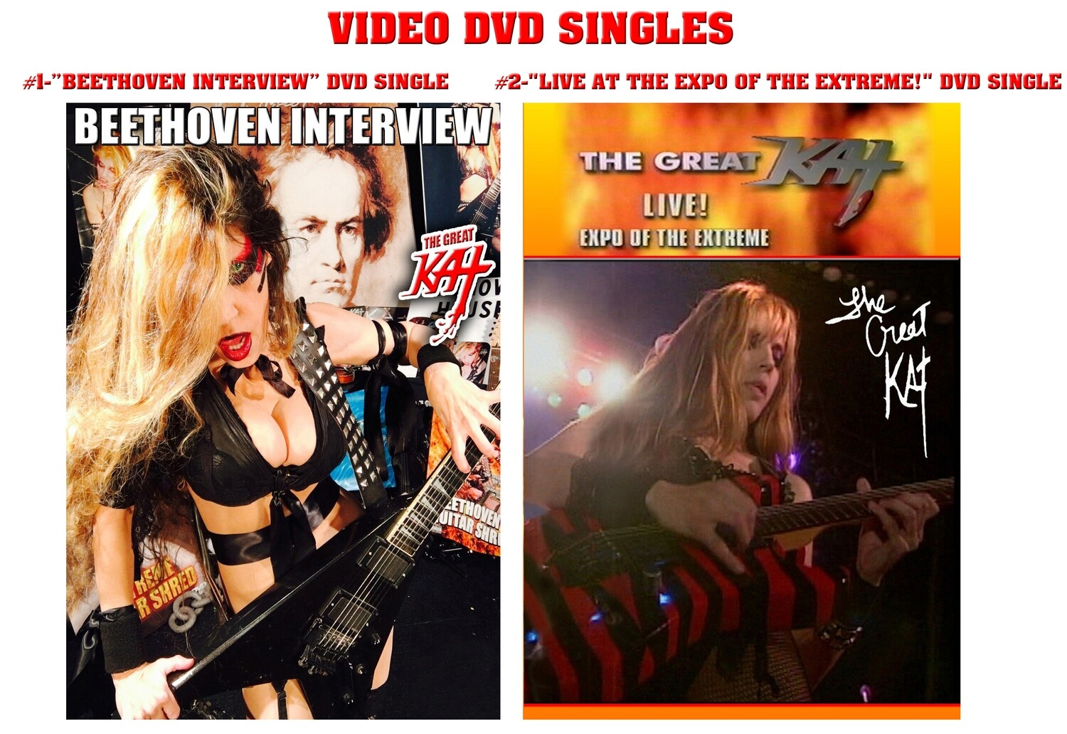 """GREAT KAT DVD SINGLES! """"BEETHOVEN INTERVIEW"""" DVD SINGLE (1 min) or """"LIVE AT THE EXPO OF THE EXTREME!"""" DVD SINGLE (5 Min)! PERSONALIZED AUTOGRAPHED by THE GREAT KAT! (Signed to Customer's Name)"""