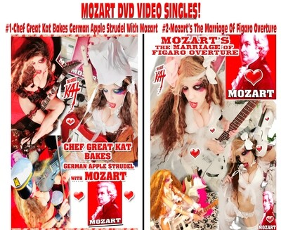 MOZART DVD VIDEO SINGLES #1-CHEF GREAT KAT BAKES GERMAN APPLE STRUDEL WITH MOZART (4:44) or #2-MOZART'S THE MARRIAGE OF FIGARO OVERTURE (2:09)! VIDEO SINGLE DVDS PERSONALIZED SIGNED by KAT $20.99 Each