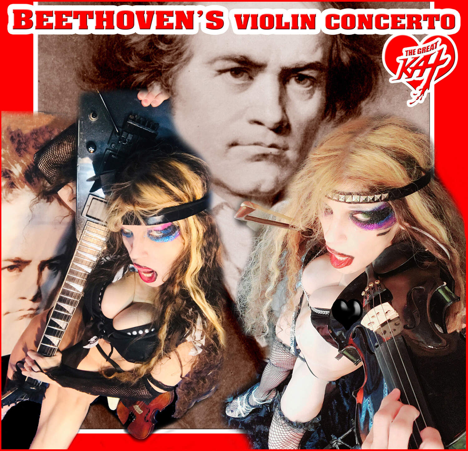 "NEW BEETHOVEN'S ""VIOLIN CONCERTO"" SINGLE Music CD by THE GREAT KAT for Guitar & Violin (1:31)! PERSONALIZED AUTOGRAPHED by THE GREAT KAT! (Signed to Customer's Name)! HAPPY BEETHOVEN'S 250TH BIRTHDAY!"