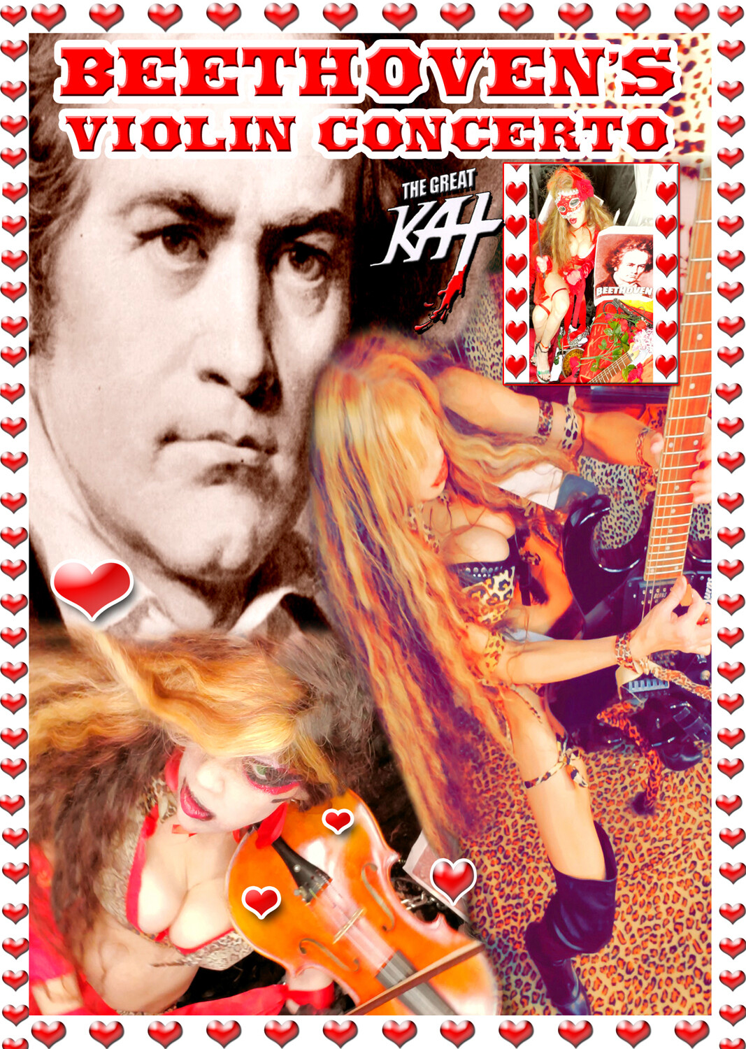 """NEW BEETHOVEN'S """"VIOLIN CONCERTO"""" MUSIC VIDEO for Guitar & Violin DVD SINGLE (1:30)!! PERSONALIZED AUTOGRAPHED by THE GREAT KAT! (Signed to Customer's Name) HAPPY 250th BIRTHDAY BEETHOVEN!"""