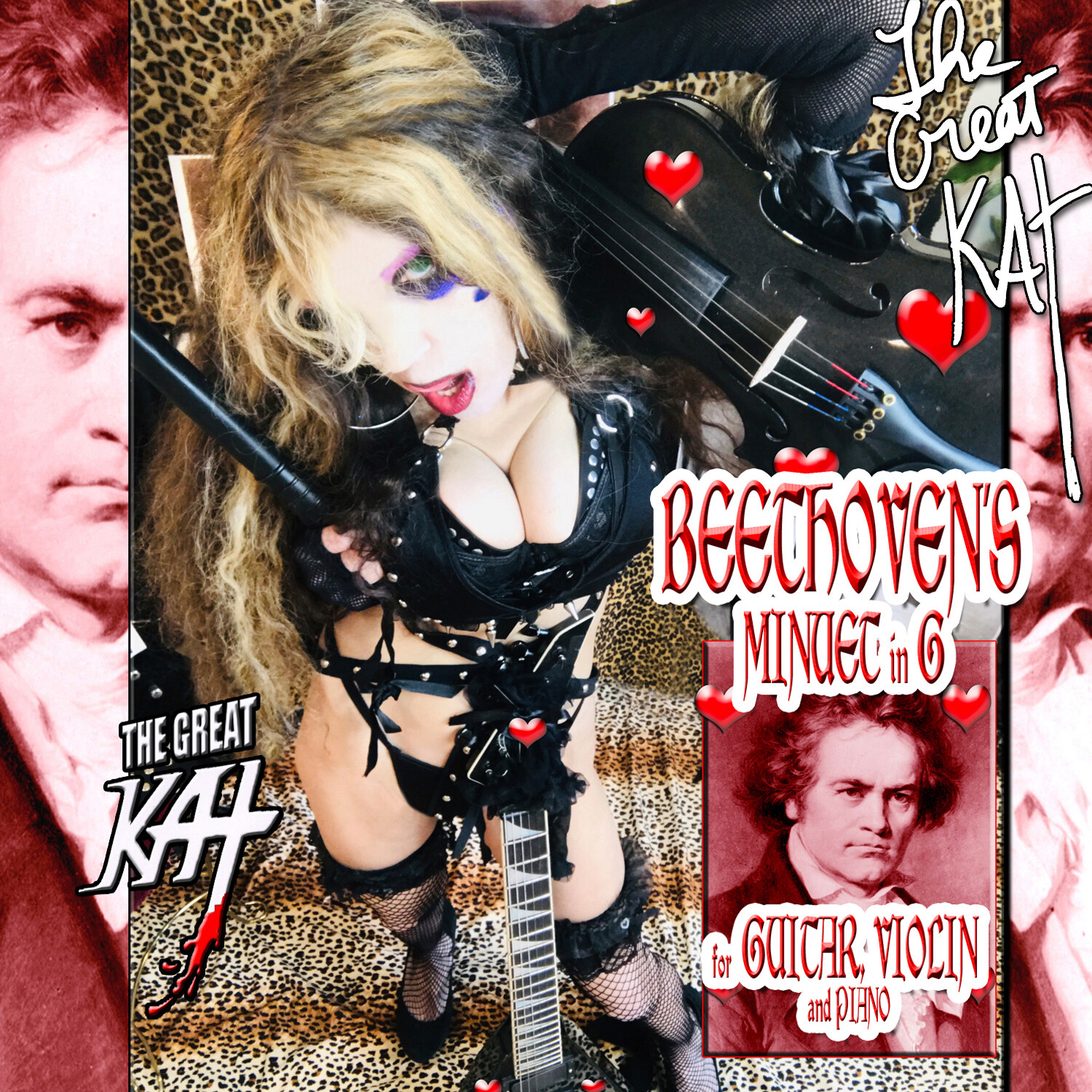 "NEW BEETHOVEN'S ""MINUET IN G for GUITAR, VIOLIN AND PIANO"" SINGLE Music CD by THE GREAT KAT (1:08)! PERSONALIZED AUTOGRAPHED by THE GREAT KAT! (Signed to Customer's Name)! HAPPY BEETHOVEN'S BIRTHDAY!"