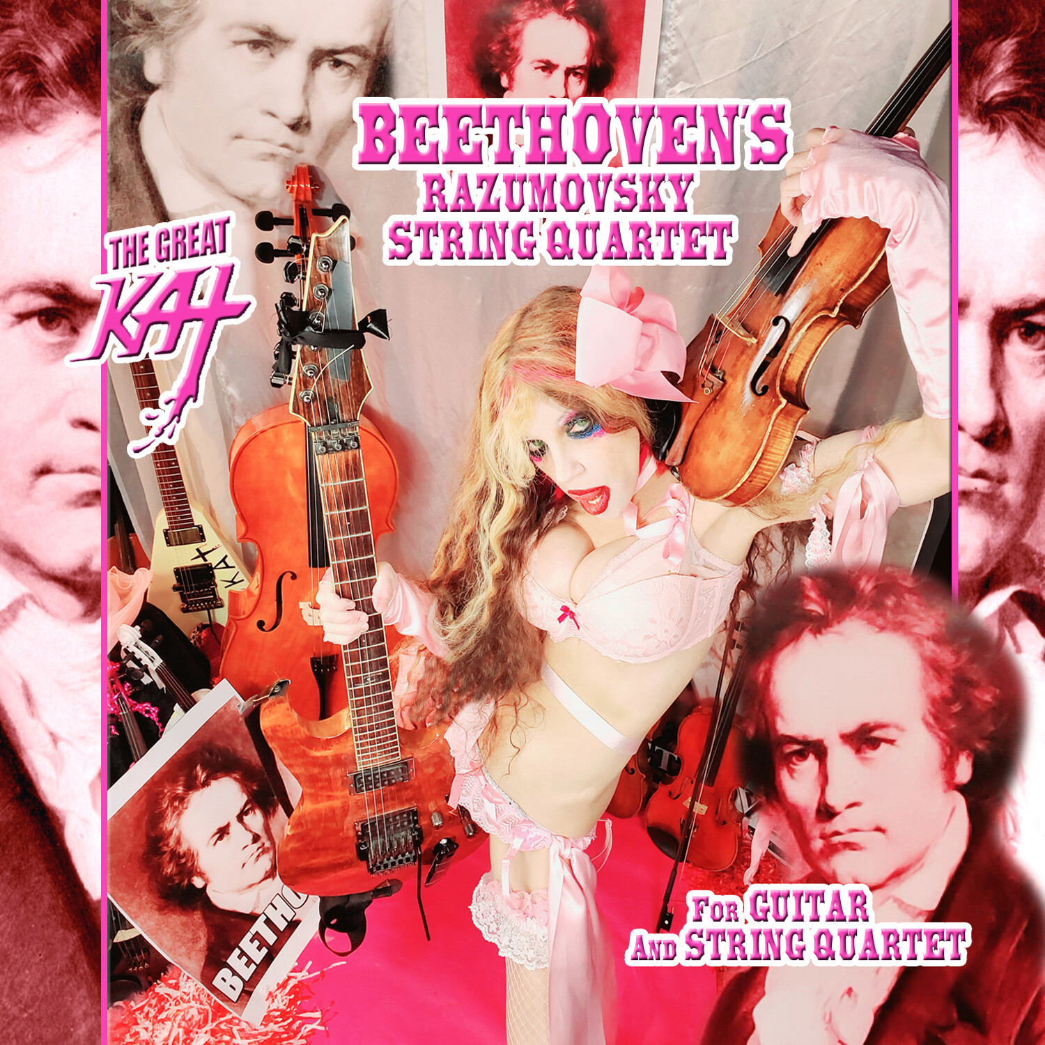 """NEW BEETHOVEN'S """"RAZUMOVSKY STRING QUARTET FOR GUITAR AND STRING QUARTET"""" SINGLE Music CD by THE GREAT KAT (1:14)! PERSONALIZED AUTOGRAPHED by THE GREAT KAT! (Signed to Customer's Name)!"""