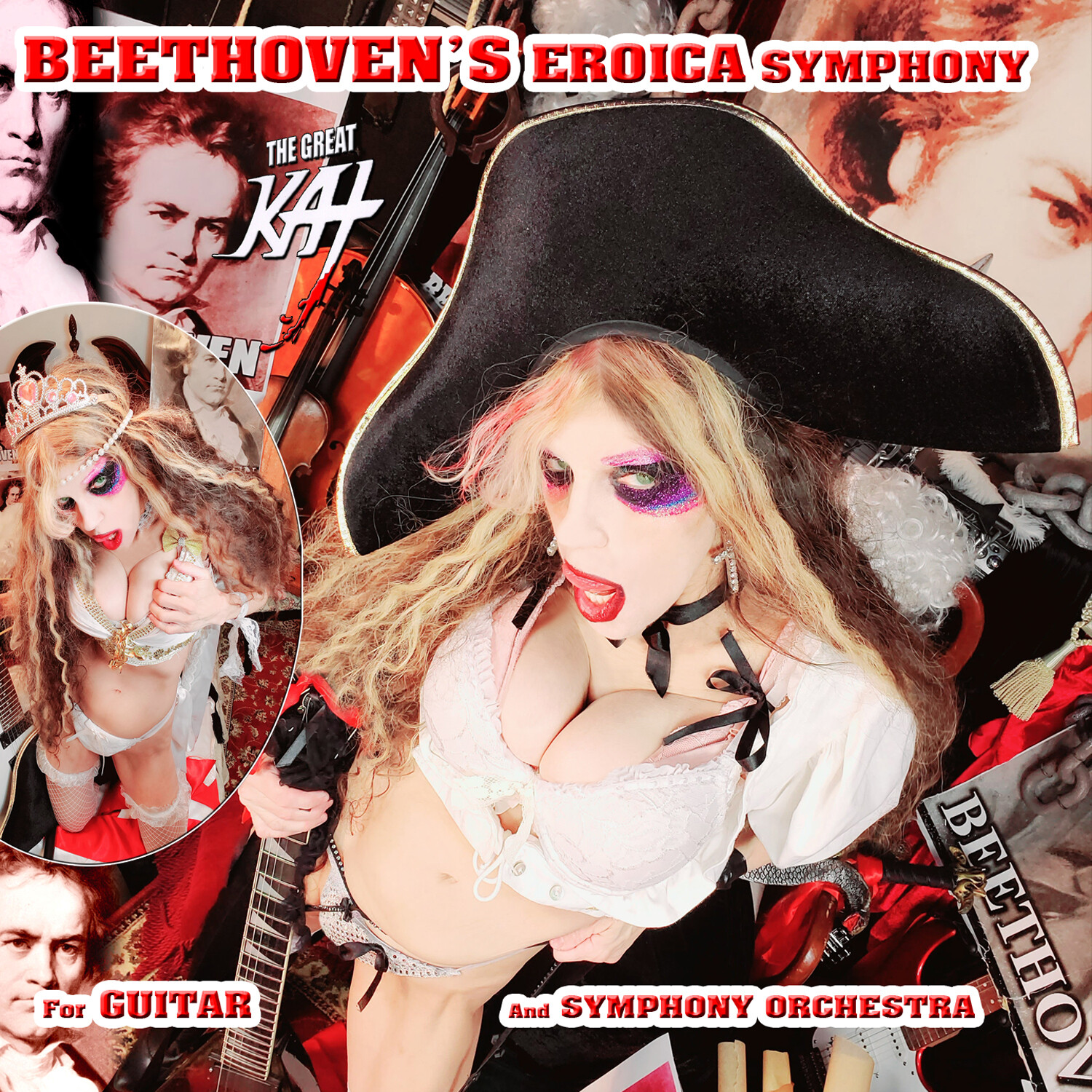 "NEW BEETHOVEN'S ""EROICA SYMPHONY for GUITAR AND SYMPHONY ORCHESTRA"" SINGLE Music CD by THE GREAT KAT (1:08)! PERSONALIZED AUTOGRAPHED by THE GREAT KAT! (Signed to Customer's Name)!"