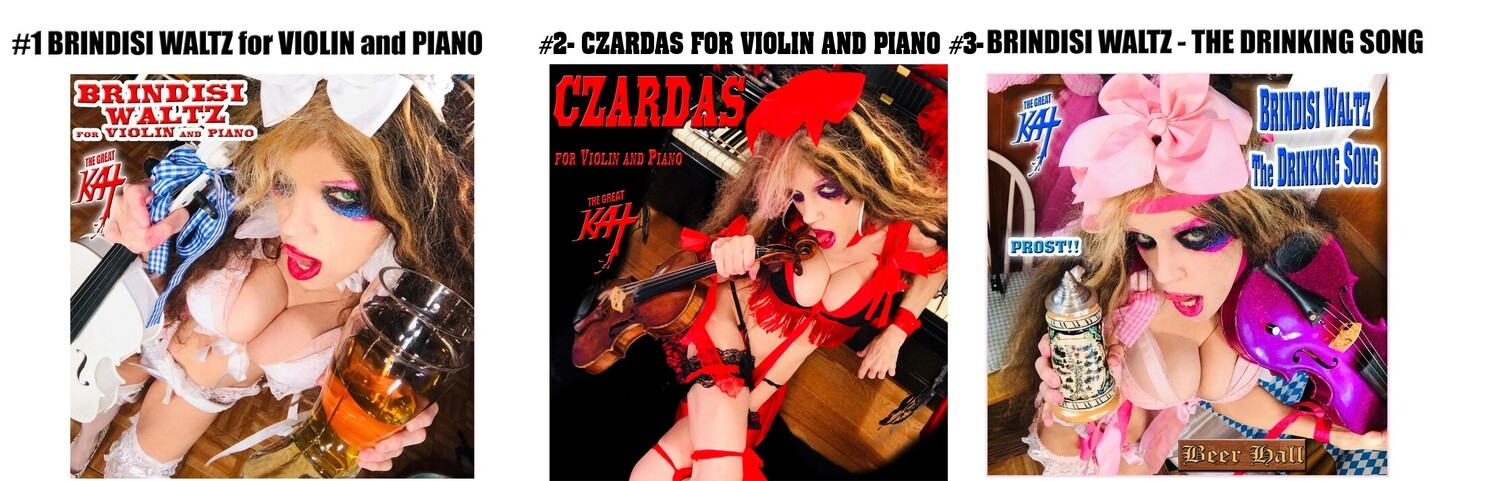 """CLASSICAL VIOLIN CD SINGLES: """"BRINDISI WALTZ FOR VIOLIN AND PIANO"""" (1:28) or """"CZARDAS FOR VIOLIN AND PIANO"""" (1:15) """"BRINDISI WALTZ THE DRINKING SONG""""(1:29)! CD SINGLES SIGNED by GREAT KAT $19.99 Each"""