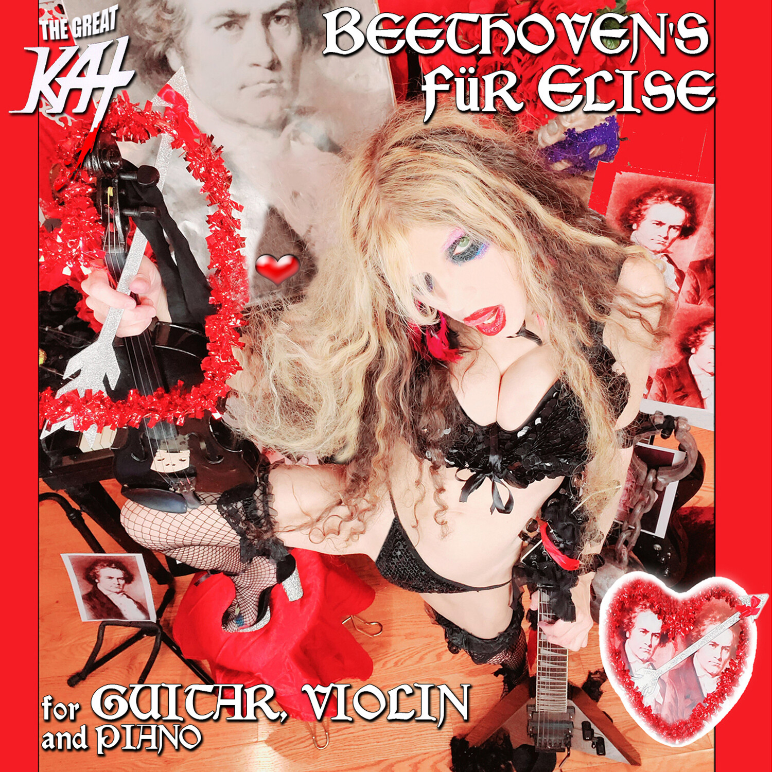 "NEW BEETHOVEN'S ""FÜR ELISE for GUITAR, VIOLIN and PIANO"" SINGLE Music CD by THE GREAT KAT (1:10)! PERSONALIZED AUTOGRAPHED by THE GREAT KAT! (Signed to Customer's Name)!"