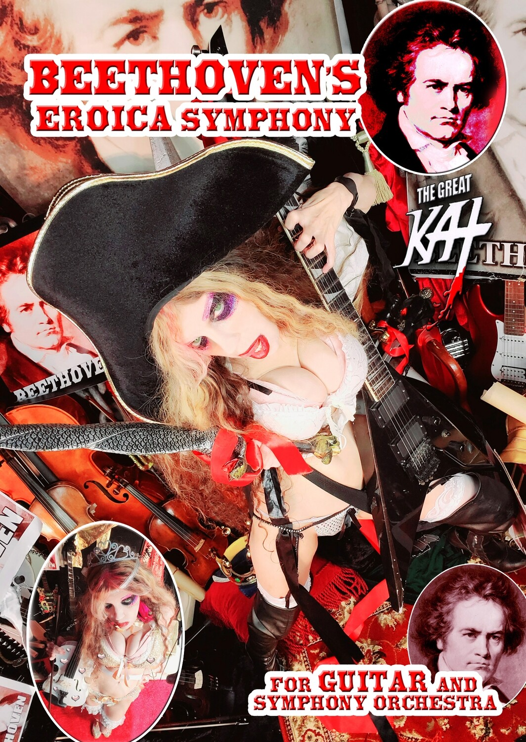 """NEW BEETHOVEN'S """"EROICA SYMPHONY for GUITAR and SYMPHONY ORCHESTRA"""" MUSIC VIDEO DVD SINGLE (1:11)! PERSONALIZED AUTOGRAPHED by THE GREAT KAT (Signed to Customer's Name)! HAPPY 250th BIRTHDAY BEETHOVEN"""