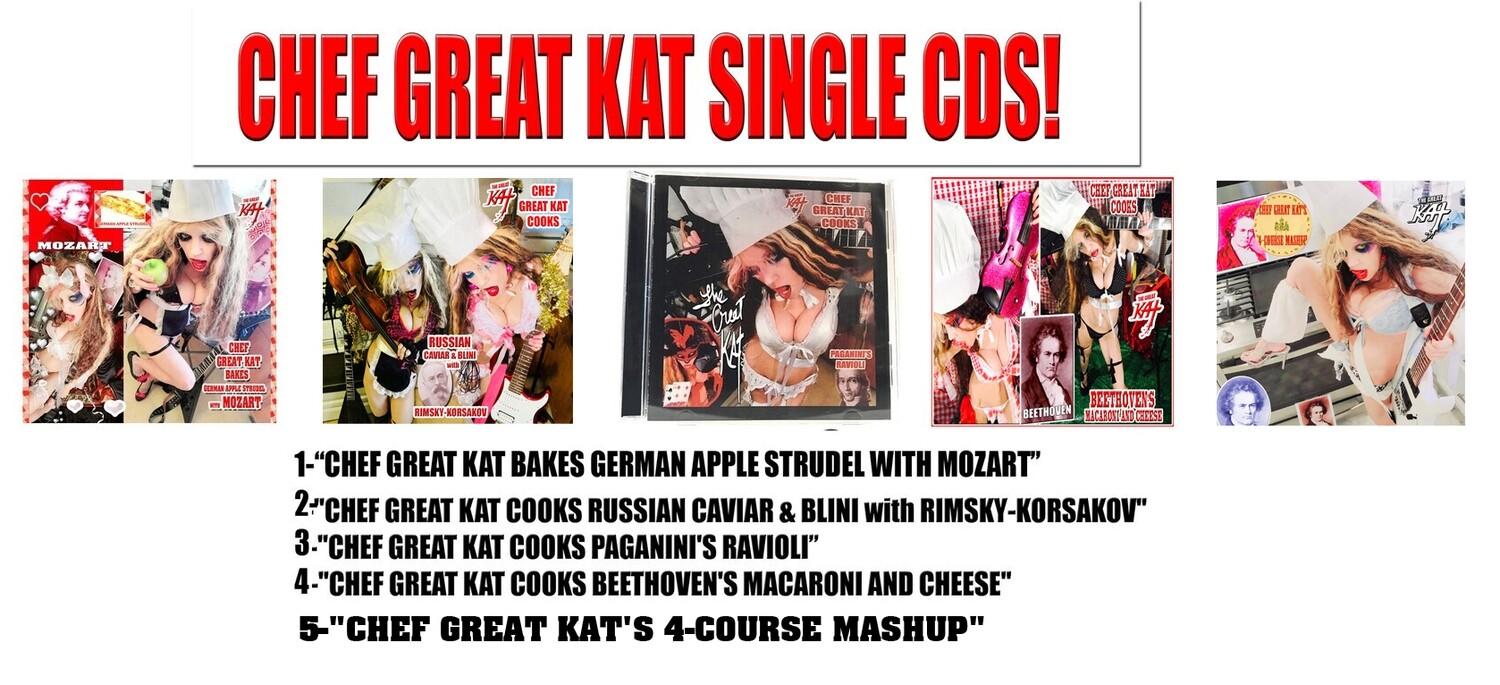 CHEF GREAT KAT SINGLE CDS! PERSONALIZED AUTOGRAPHED by THE GREAT KAT! (Signed to Customer's Name) $21.99 EACH (Timings & Info Below)