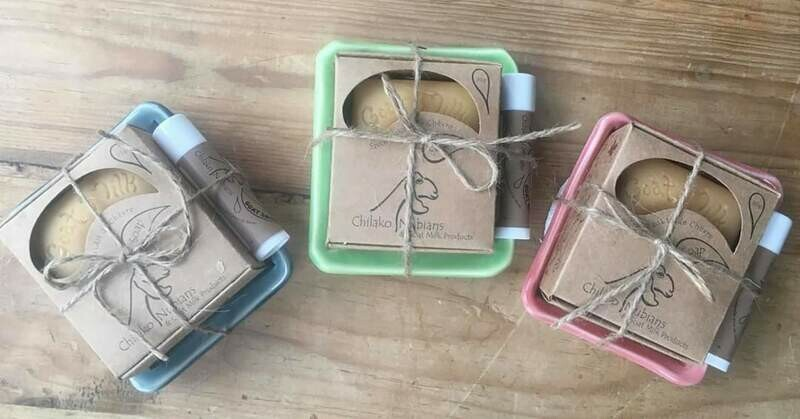 Chilako Nubians Gift Set -1 bar soap, 1 lip balm, 1 soap dish, 1 lufa scrub
