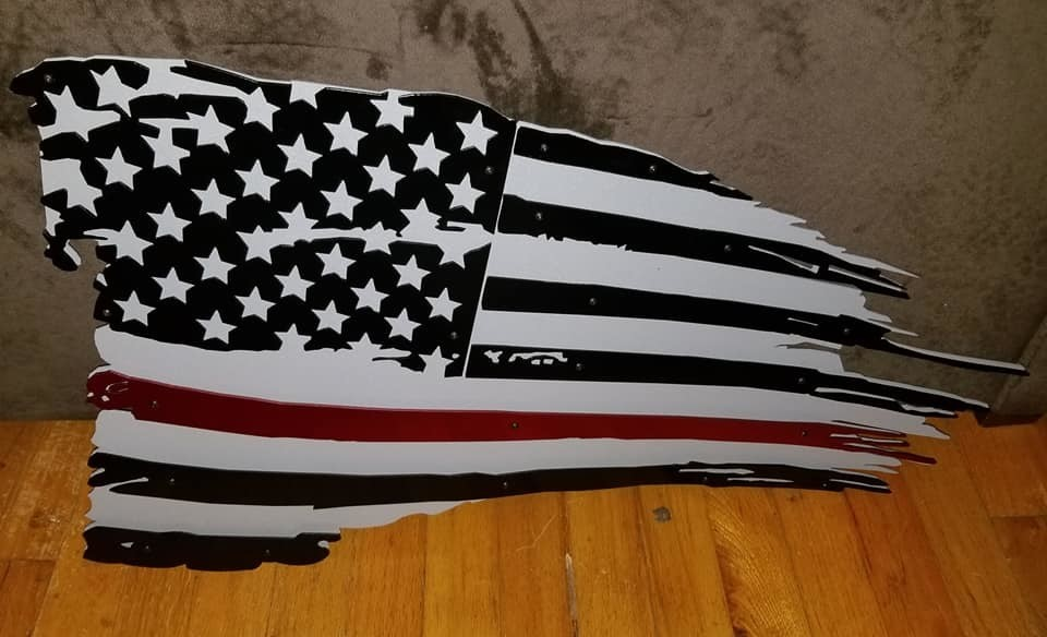3D Thin Red/Line American Flag