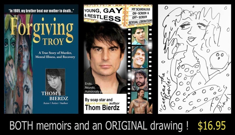 BOTH MEMOIRS and an ORIGINAL drawing! Forgiving Troy + Young, Gay & Restless + 6x9