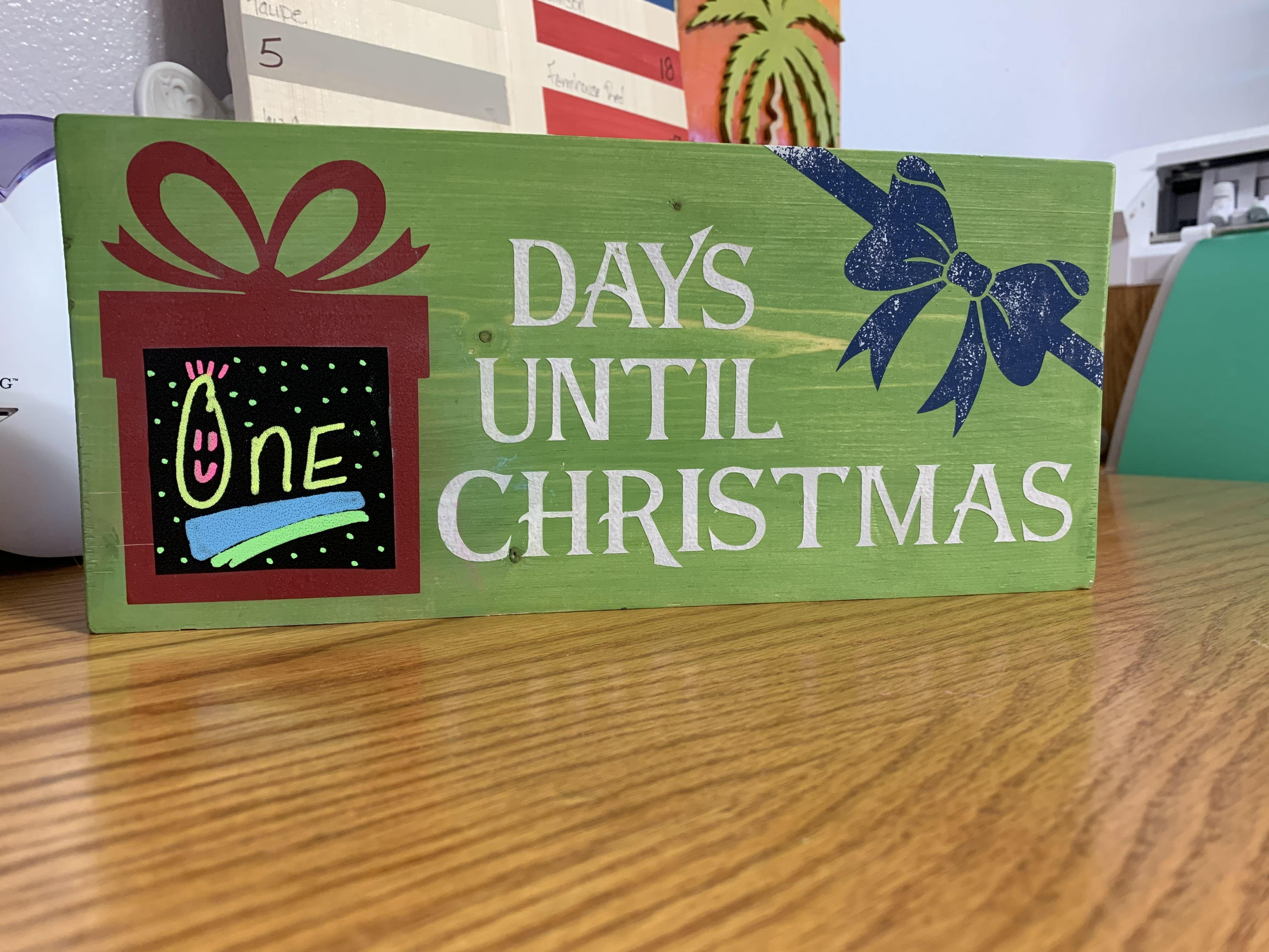 Countdown to Christmas Chalkboard DIY Wood Sign 00001