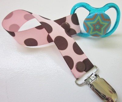 Pink Brown Dot Dummy Clip