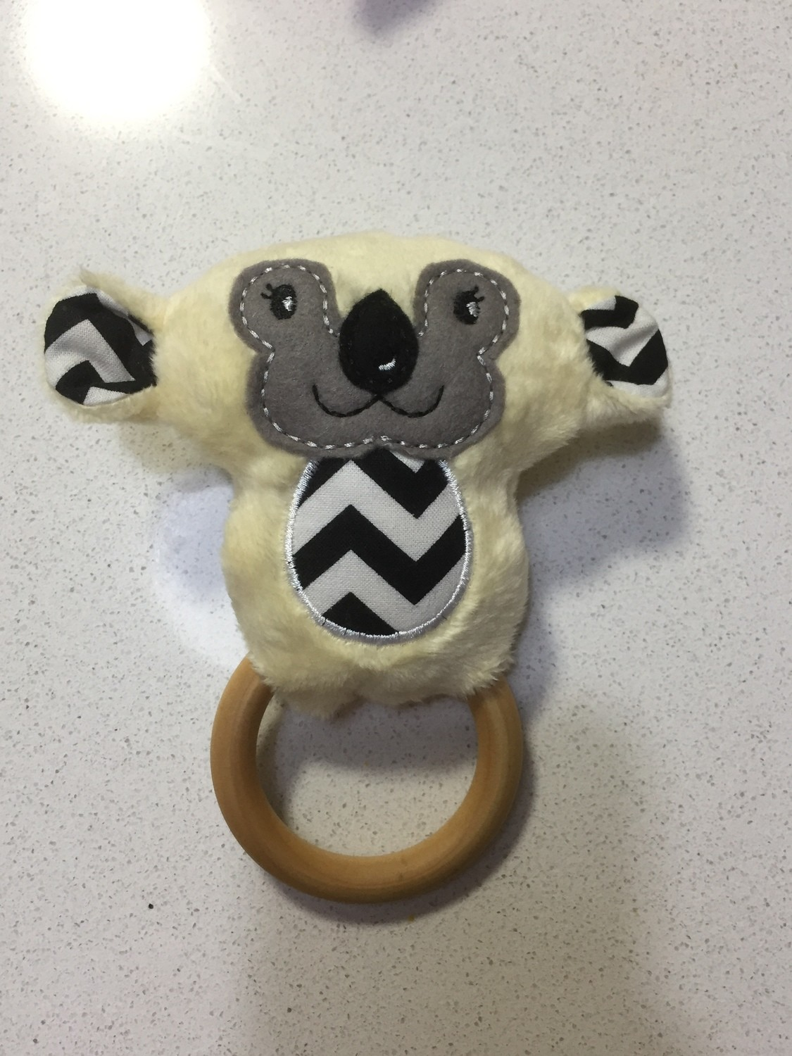Yellow Koala Rattle Teething Ring