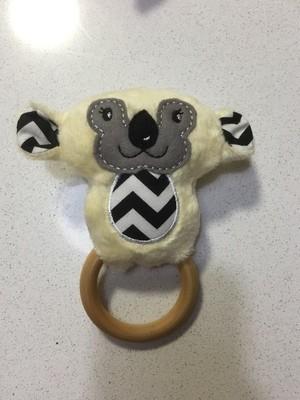 Yellow Koala Rattle Teething Ring