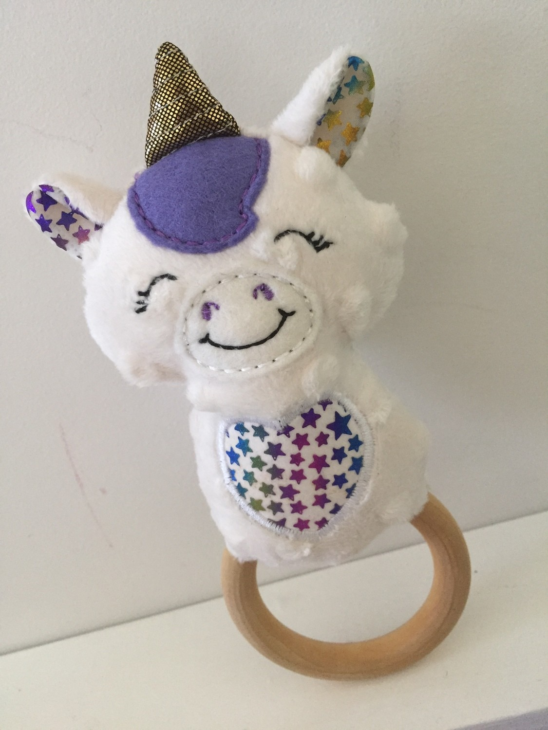 Unicorn Rattle Teething Ring 🦄