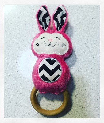 Pink Bunny Rattle Teething Ring