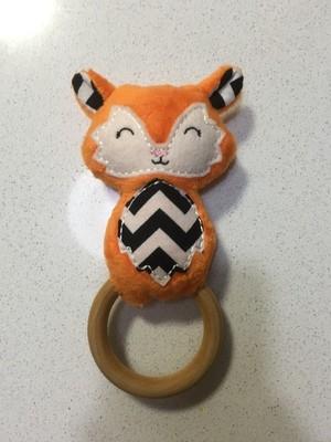 Orange Fox Rattle Teething Ring