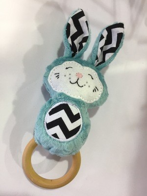 Teal Bunny Rattle Teething Ring