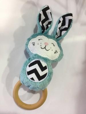 Teal Bunny Rattle Teething Ring