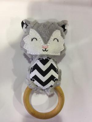 Grey Fox Rattle Teething Ring