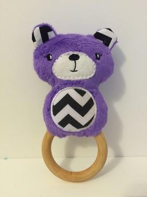 Purple Bear Rattle Teething Ring