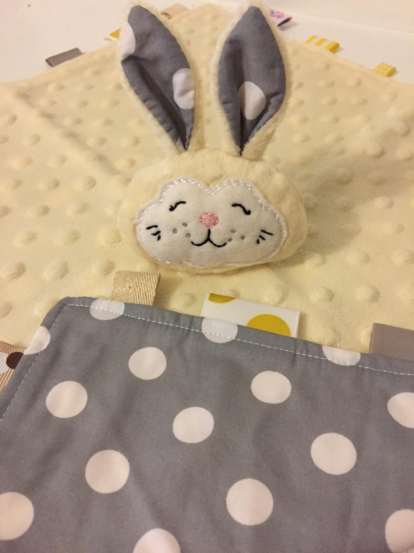 Yellow Grey Dot Snuggie Bunny