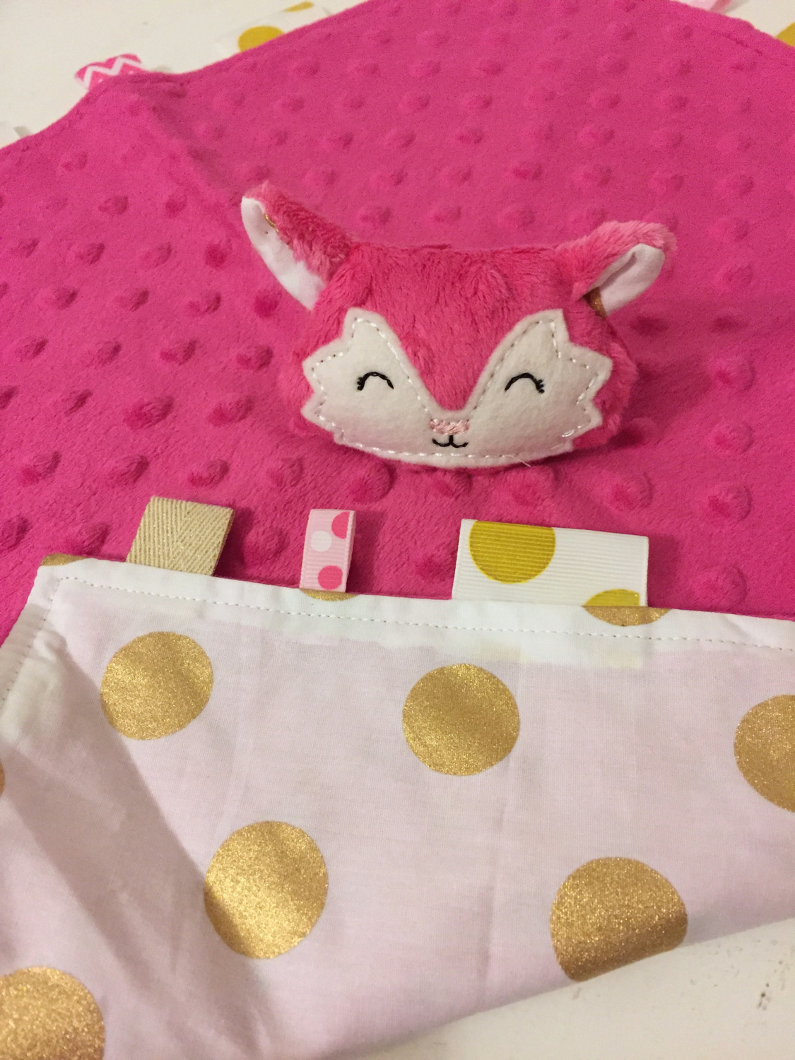 Pink Gold Dot Snuggie Fox