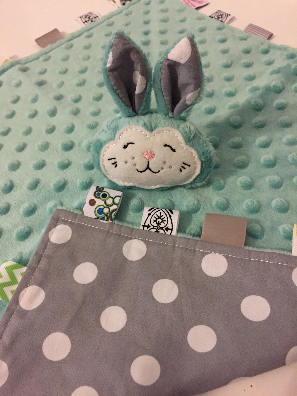 Teal Grey Dot Snuggie Bunny