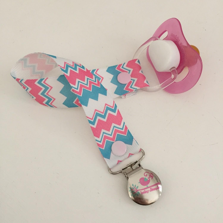 Pink & Blue Chevron Dummy Clip