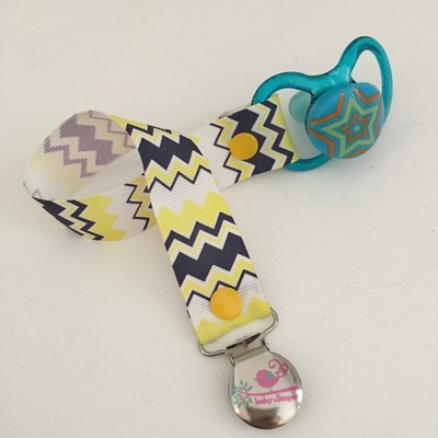 Yellow & Navy Chevron Dummy Clip