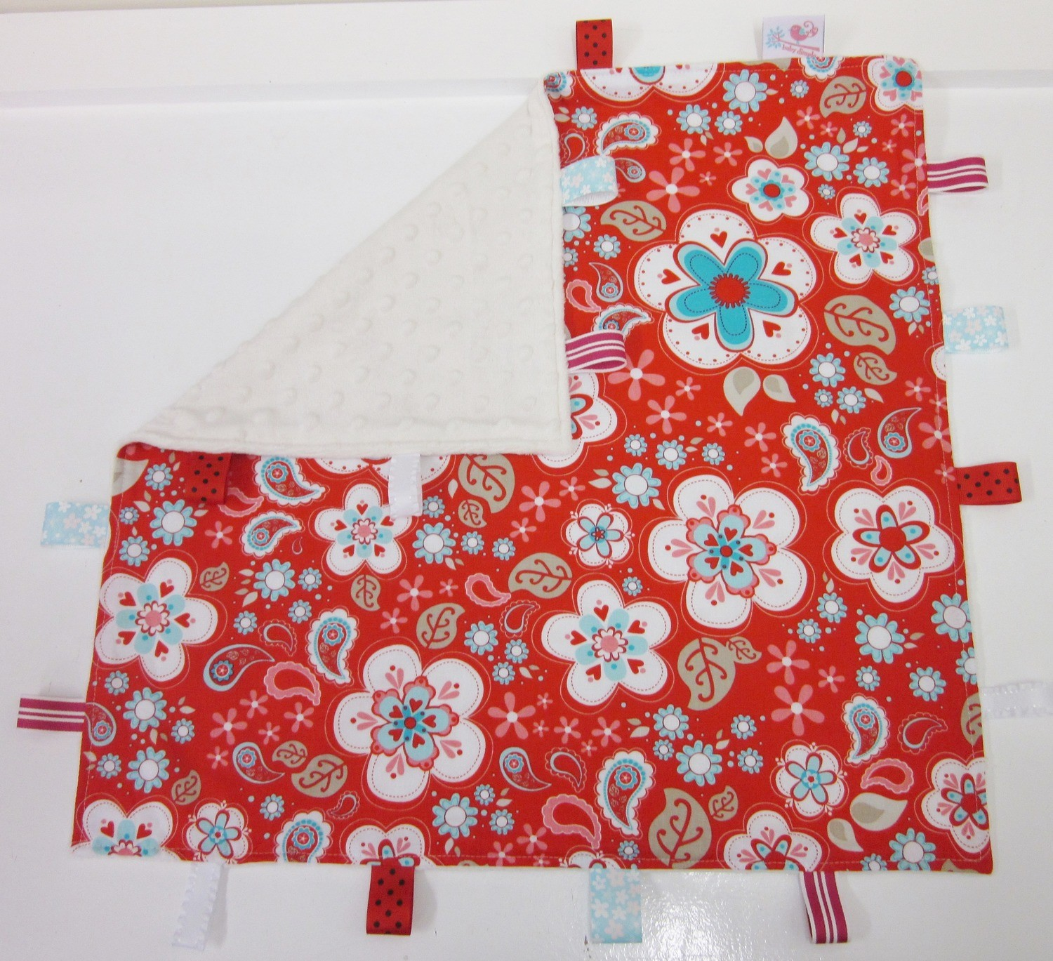 Large Minky Taggie Blanket - Red Flowers