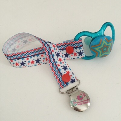 Red & Blue Stars Chevron Dummy Clip