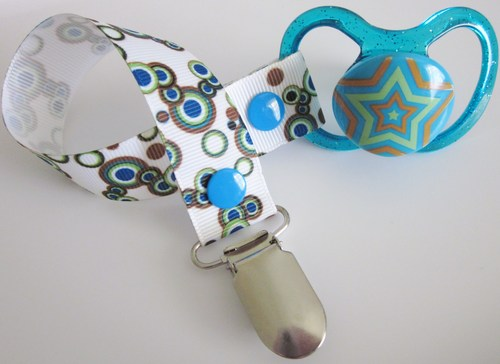 Blue Brown Bubble Dummy Clip