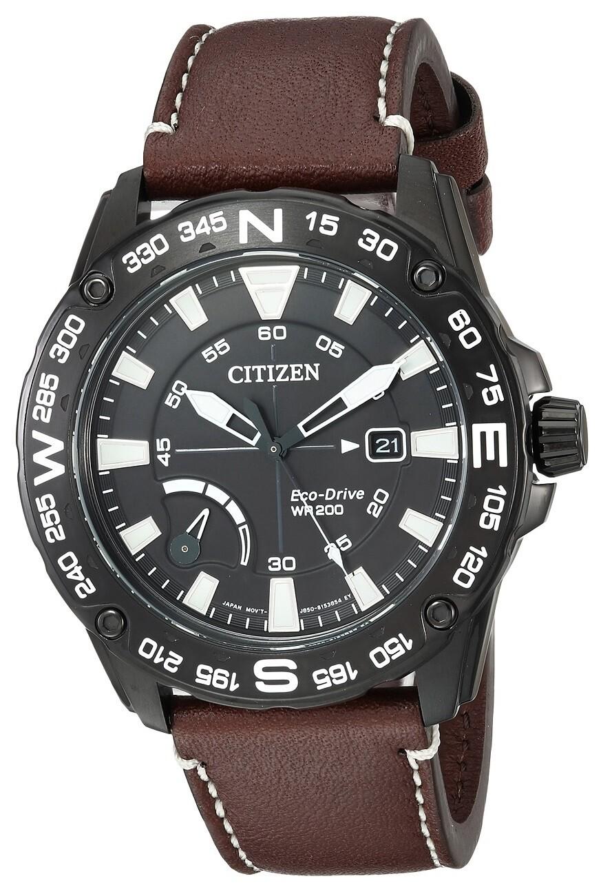 Reloj Hombre Citizen Eco-Drive AW7045-09E Men's PRT brújula Bezel Black 44mm Watch