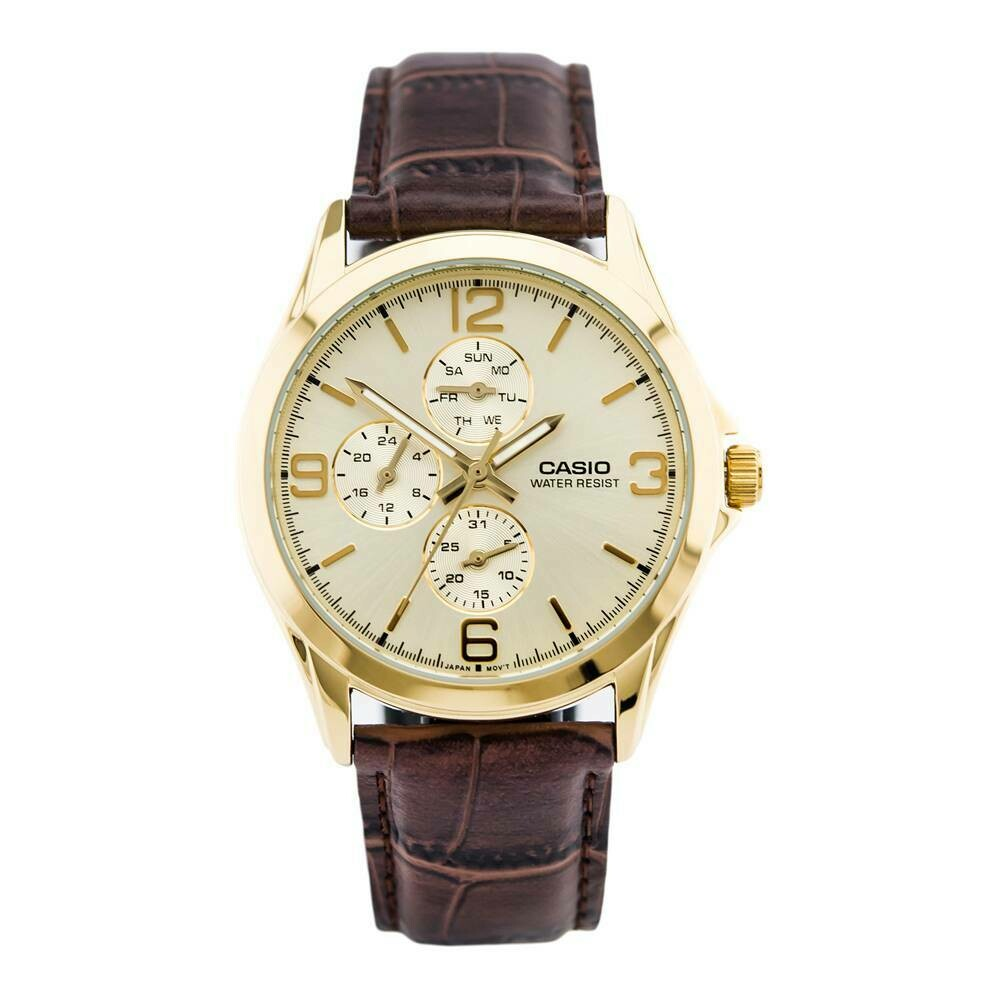 Reloj Analogico CASIO MTP-V301GL-9A 3 esperas correa de piel