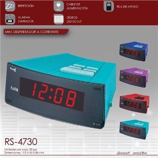 "DESPERTADOR SAMI AC MINI DIGITOS 0.6"" azul"