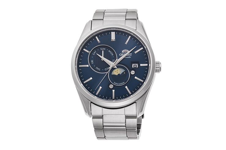 Reloj Automático Hombre Orient Sun & Moon RA-AK0303L dial azul zafiro acero