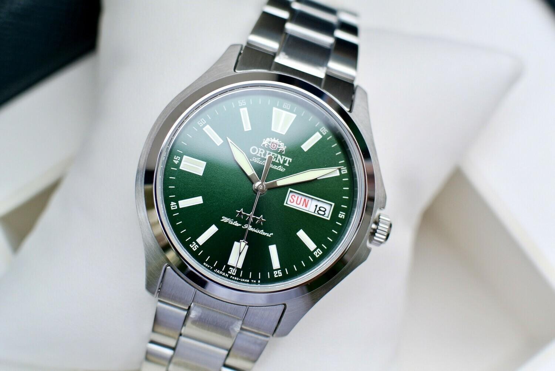Reloj Automatico Hombre Orient 3 Star RA-AB0F08E dial verde acero