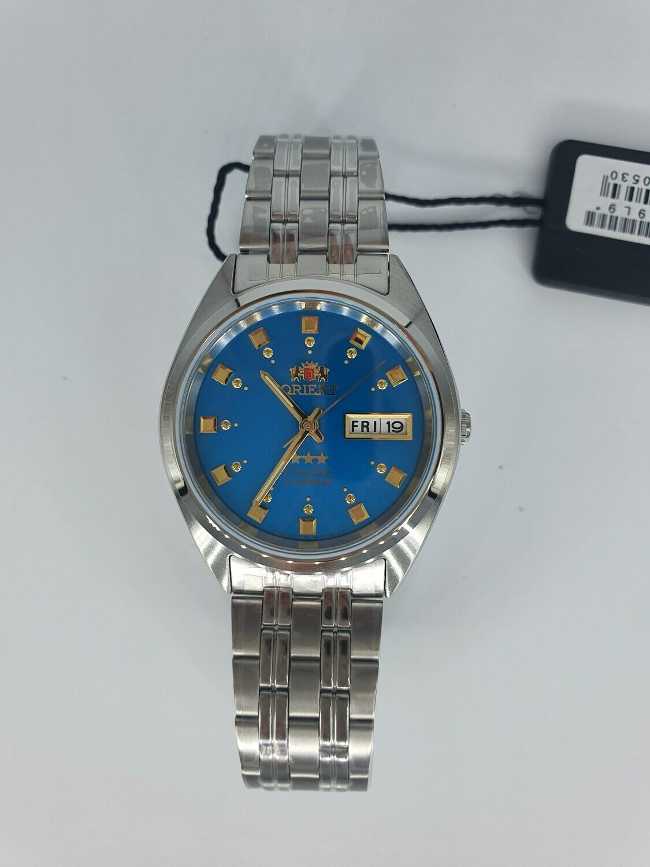 Reloj Automático Orient 3 Star FAB00009L dial azul correa acero