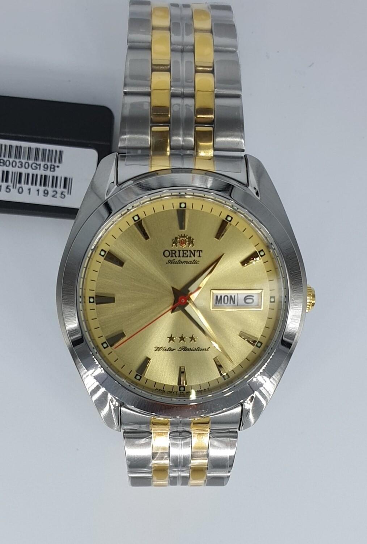 Reloj Automático Hombre Orient TriStar RA-AB0030G dial dorado correa acero