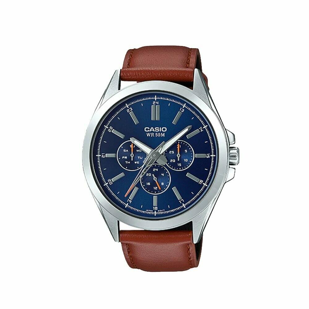 Reloj Hombre Casio Precisionist MTP-SW300L-2AV Sweep Second hand correa cuero