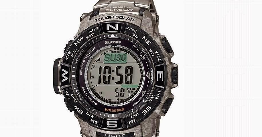 Reloj Hombre Titanio Solar Casio Pro Trek PRW-3500T-7 Men's Tough Solar Silver-Tone Titanium Band 56mm